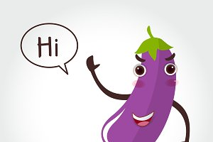 Eggplant cartoon vector illustration