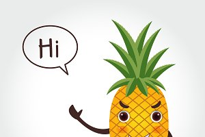 Pineapple cartoon vector
