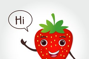 Strawberry cartoon vector