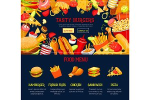 Vector landing page template fast food web site