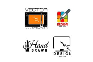 Vector icons for graphic design or designer studio