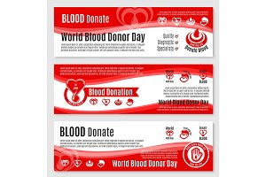 Vector banners for blood donation donor day