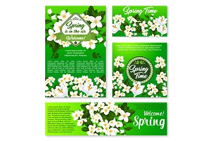 Spring floral template for card and banner design