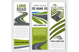 Vector banners for road travel technology company