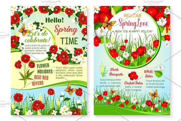 Spring Holiday Sale Vector Posters Set Of Flowers
