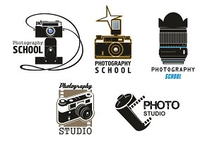 Vector icons camera film for photo studio school