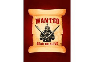 Vector poster wanted dead or alive medieval knight