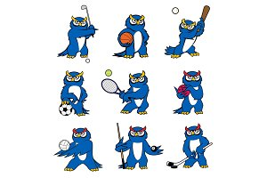 Cartoon owl play sports vector mascot icons