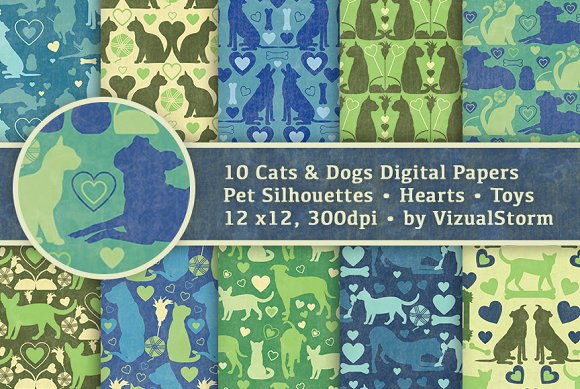 Cats And Dogs Background Patterns