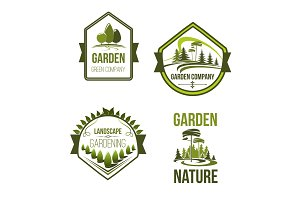 Vector icons for landscape or gardening company