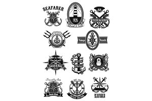 Vector heraldic icons of nautical marine seafarer