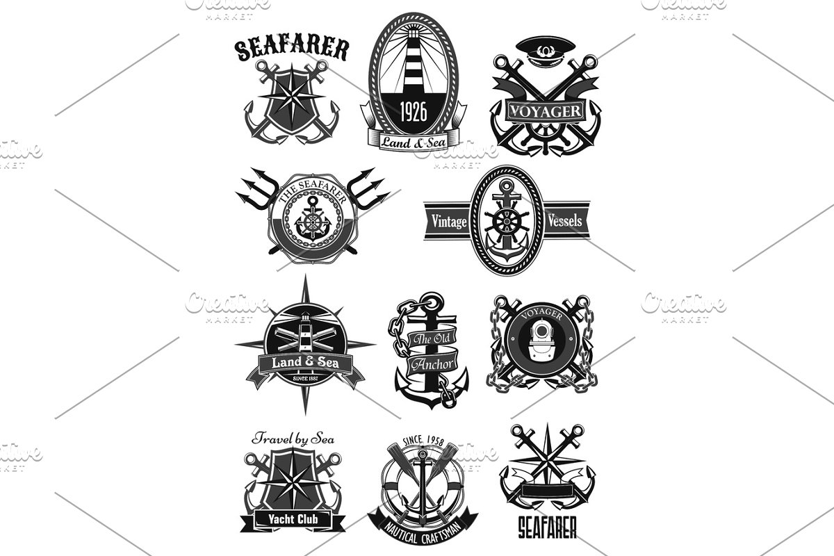 Vector Heraldic Icons Of Nautical Marine Seafarer