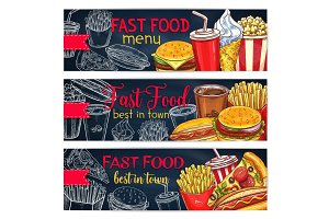 Vector banners set for fast food restaurant menu