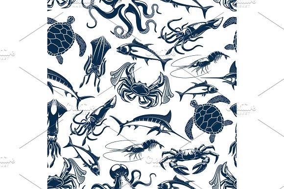 Vector Seamless Pattern Sea Fish Fishing Catch