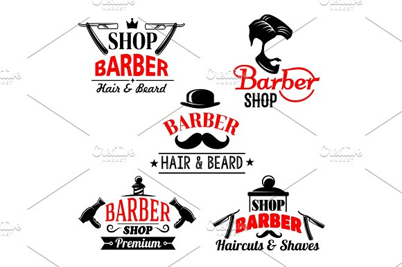 Vector Icons Set For Barber Shop Premium Salon