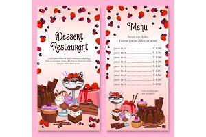 Vector menu for pastry dessert cakes and cupcakes