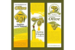 Vectror banners of olives and olive oil