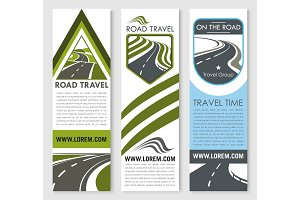 Vector banners set for road travel company