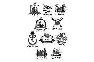Vector icons set of bowling game tournament awards