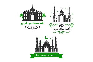 Eid Mubarak festival vector Muslim greetings set