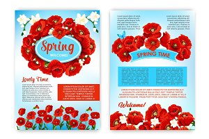 Spring holidays brochure template with flowers