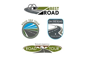 Vector icons set for road travel or trip company