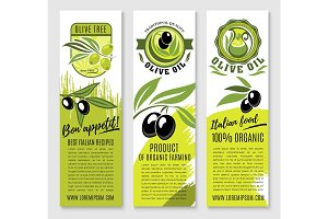 Vector banners of olives and Italian olive oil