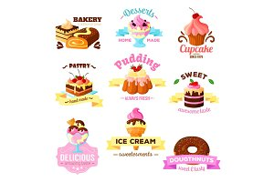 Vector dessert cakes sweets icons for patisserie