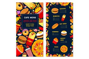 Vector price menu template of fast food restaurant