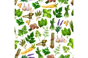 Vector seamless pattern of spice herb seasonings