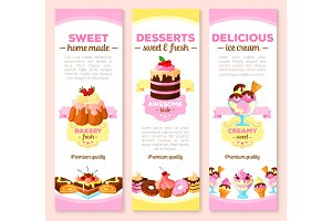 Vector banners of dessert cakes and pastry sweets