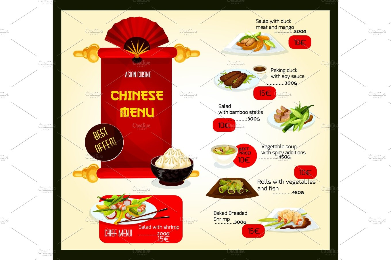 Vector Menu Template Of Chinese Cuisine Restaurant Illustrations