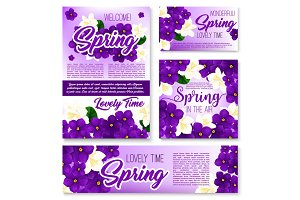 Spring season purple flower banner template