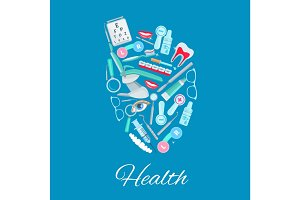 Medical care heart vector poster of medicines