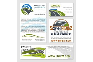 Vector templates of road construction builders