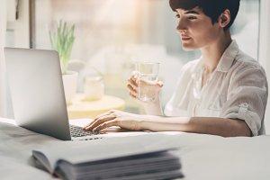 Female freelancer working at home
