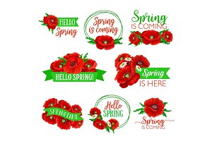 Hello Spring floral symbol set with flower bouquet