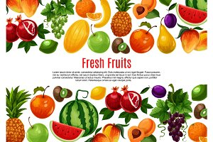 Vector poster of fresh garden or tropical fruits