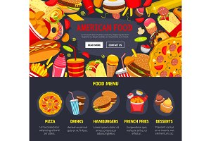 Vector fast food web site landing page template
