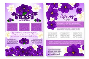 Vector spring flowers violas and orchid poster