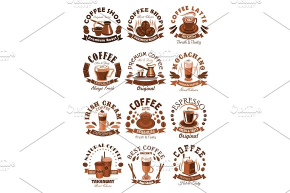 Vector Icons Coffeeshop Of Coffee Cups Or Beans