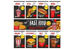 Vector fast food menu price cards templates set