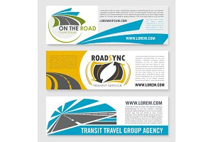 Vector banners for road travel or transit company