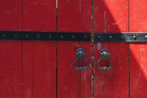 red vintage door