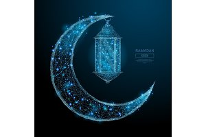 Arabic Moon and ramadan lantern blue
