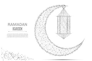 Arabic Moon and ramadan lantern gray