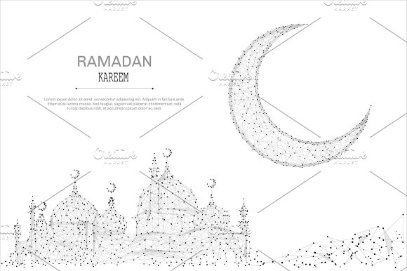 mosque and arabic moon low poly gray
