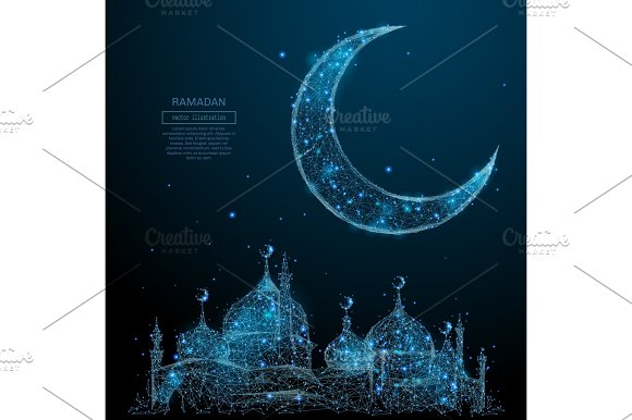mosque and arabic moon low poly blue
