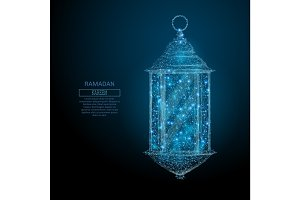 ramadan lantern low poly blue