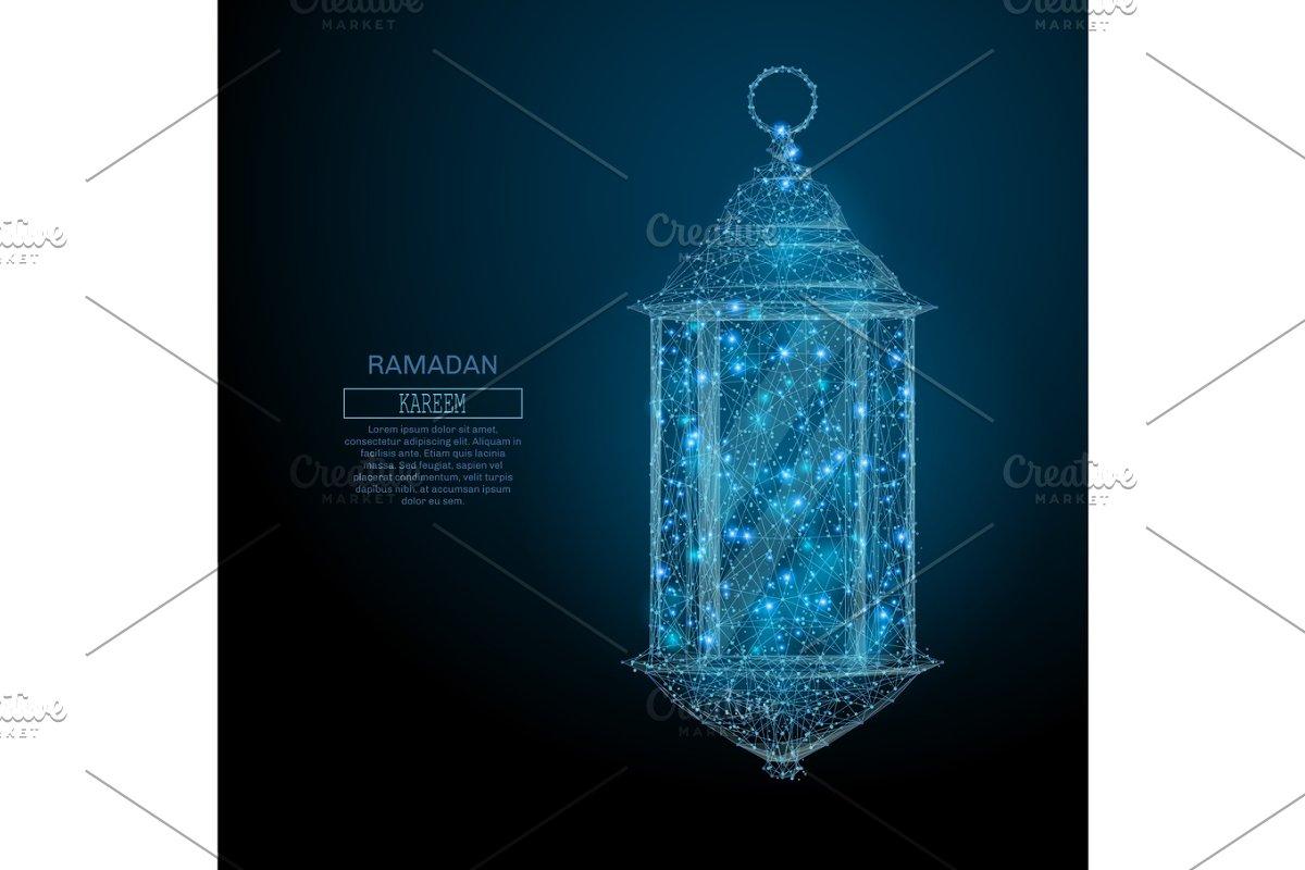 ramadan lantern low poly blue